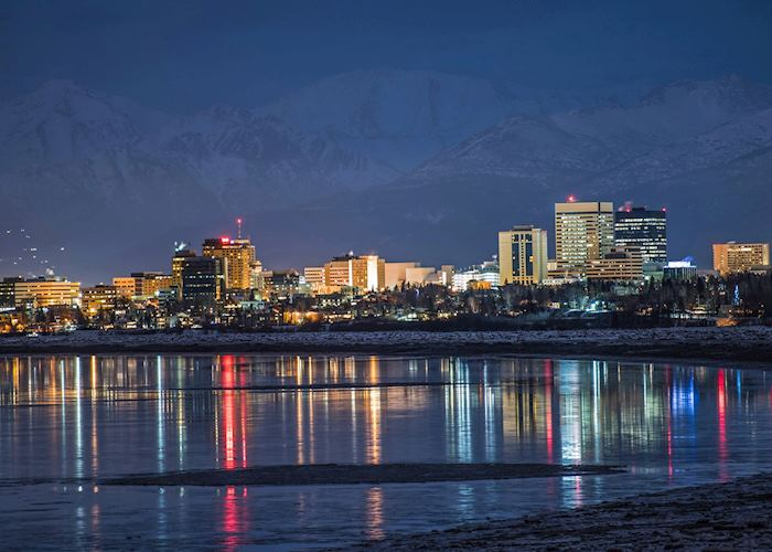 Night skyline of Anchorage, Alaska