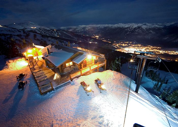 Evening snowmobile ride with mountaintop fondue dinner, Whistler