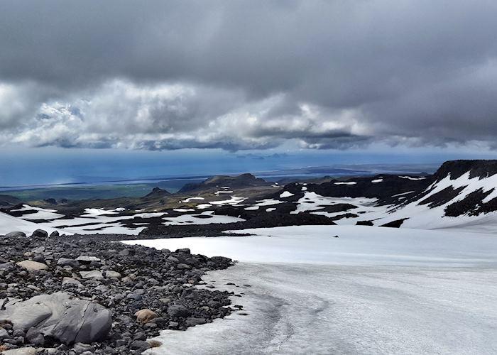 Snowmobiling on Eyjafjallajökull glacier