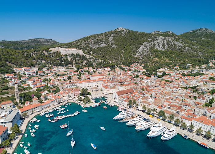 Aerial view of the bay, Hvar