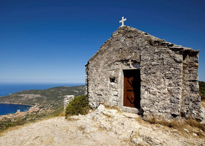 Stone hilltop church, Vis