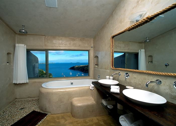 View from the bathroom at Delamore Lodge, Waiheke Island