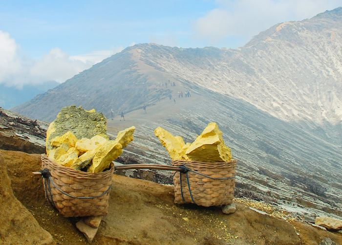 Sulphur collected from the crater of Ijen