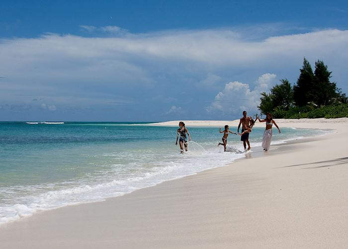 Walking along the beach, Denis Island
