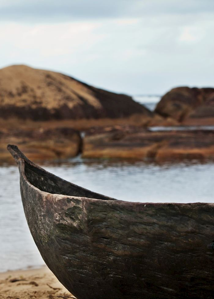 Pirogue on the beach near Mandrare River Camp, Ifotaka Community Forest