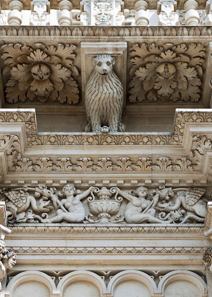 Carvings on the façade of Basilica di Santa Croce, Lecce