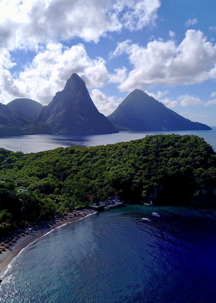 Aerial View of The Pitons
