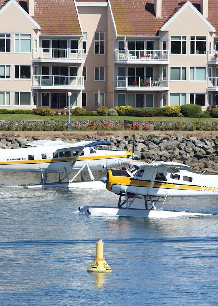 Seaplanes cross paths in Victoria, Canada