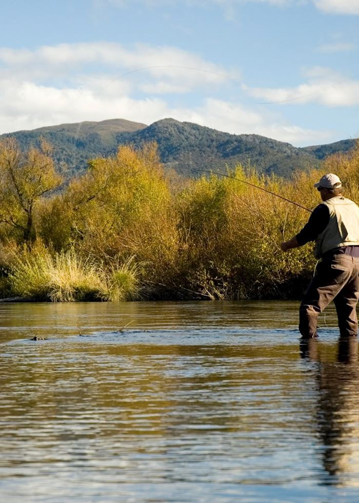 Trout fishing, Taupo, New Zealand