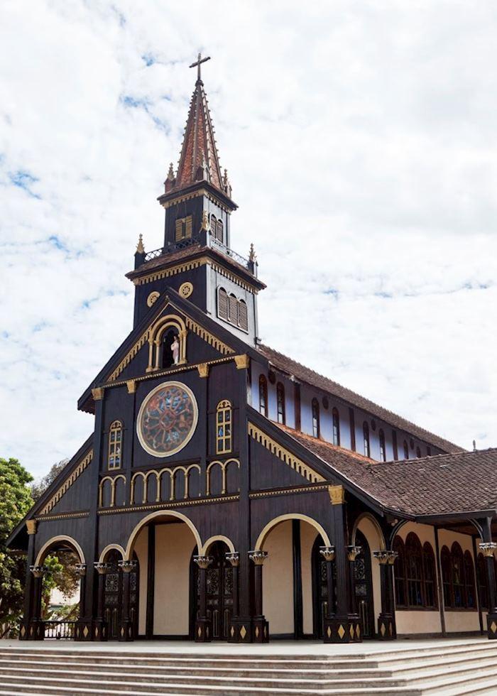 Unusual wooden church in Kon Tum, Vietnam